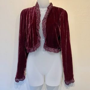 Free People | Velvet Cropped Lace Cardigan Blazer